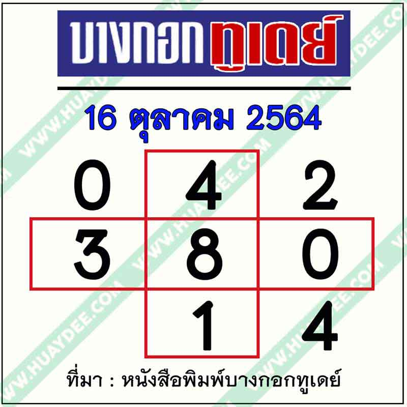 เลขเด็ดบางกอกทูเดย์ 16-10-64