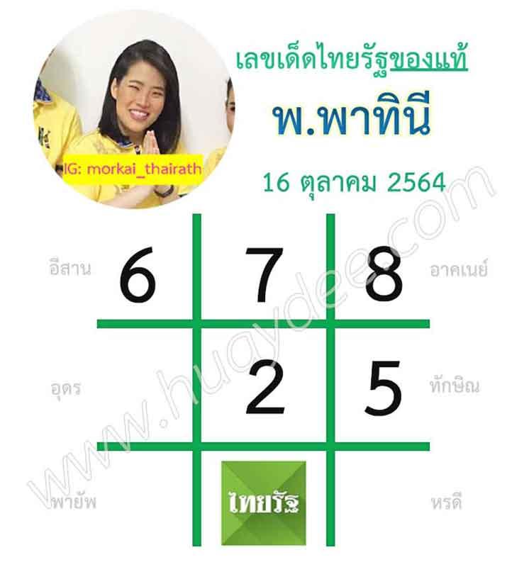 เลขเด็ดไทยรัฐ 16-10-64